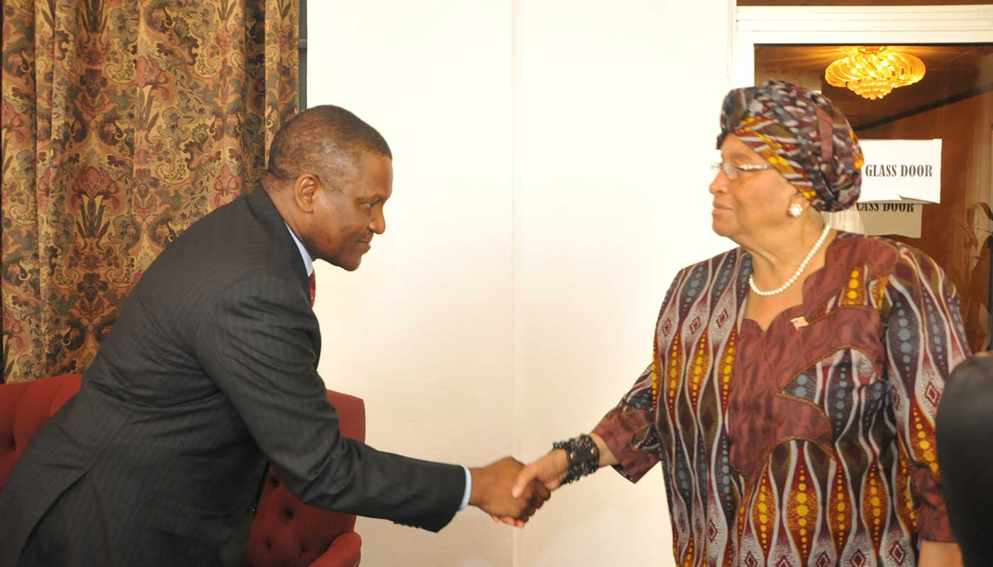Africa's Billionaire Dangote with President Ellen Johnson Sirleaf
