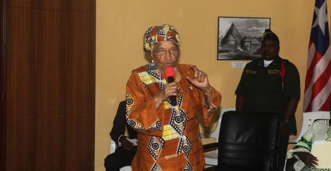 President Sirleaf making remarks at the launch of Historical Website at the Center for National Documentation and Records Agency on 12th Street Sinkor